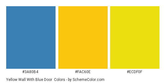 Yellow Wall With Blue Door Color Scheme Palette Thumbnail 3a80b4 Fac60e