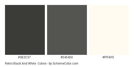 Retro Black and White - Color scheme palette thumbnail - #3B3C37 #545450 #FFFAF0