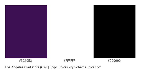 Los Angeles Gladiators (OWL) Logo - Color scheme palette thumbnail - #3C1053 #FFFFFF #000000