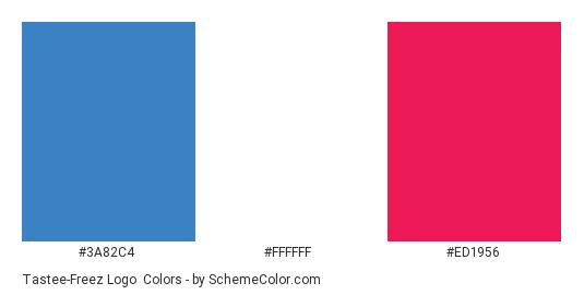 Tastee-Freez Logo - Color scheme palette thumbnail - #3a82c4 #ffffff #ed1956