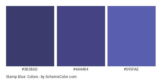 Stamp Blue - Color scheme palette thumbnail - #3b3b6d #444484 #595fae
