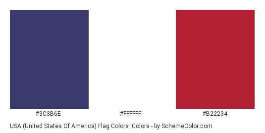 USA (United States of America) Flag Colors - Color scheme palette thumbnail - #3c3b6e #ffffff #b22234