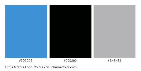 Lithia Motors Logo - Color scheme palette thumbnail - #3d92d5 #000200 #b4b4b6