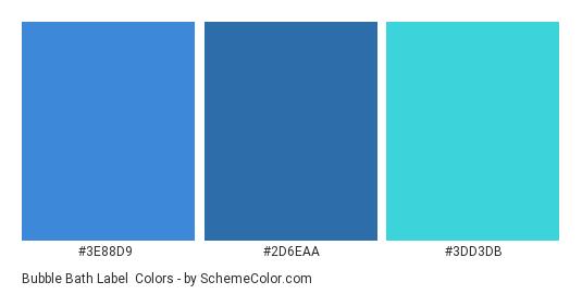 Bubble Bath Label - Color scheme palette thumbnail - #3e88d9 #2d6eaa #3dd3db