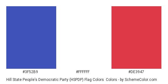 Hill State People's Democratic Party (HSPDP) Flag Colors - Color scheme palette thumbnail - #3f52b9 #ffffff #de3947