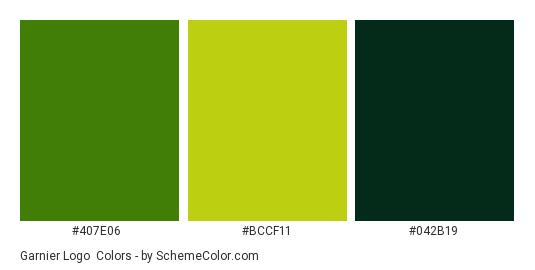 Garnier Logo - Color scheme palette thumbnail - #407e06 #bccf11 #042b19