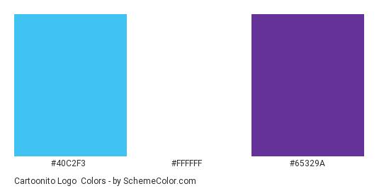 Cartoonito Logo - Color scheme palette thumbnail - #40c2f3 #ffffff #65329a
