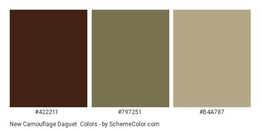 New Camouflage Daguet - Color scheme palette thumbnail - #422211 #797251 #b4a787