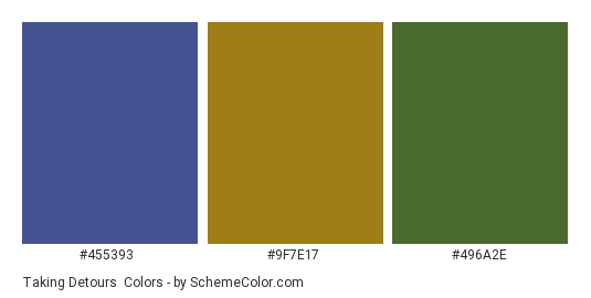 Taking Detours - Color scheme palette thumbnail - #455393 #9f7e17 #496a2e
