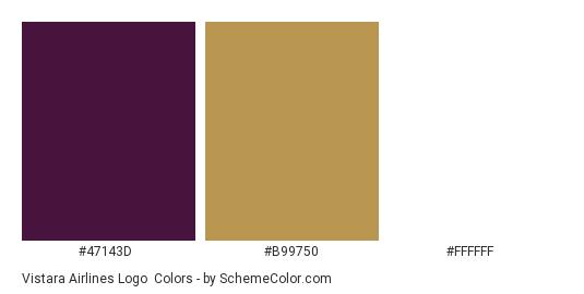 Vistara Airlines Logo - Color scheme palette thumbnail - #47143d #b99750 #ffffff