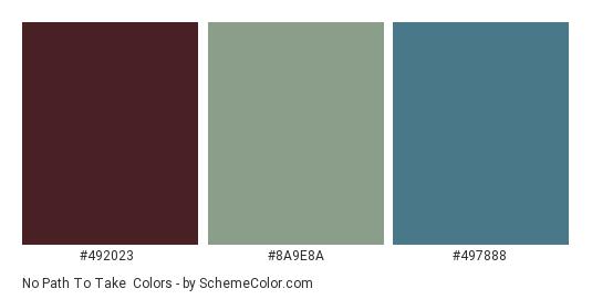 No Path to take - Color scheme palette thumbnail - #492023 #8a9e8a #497888