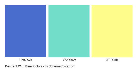 Descent with Blue - Color scheme palette thumbnail - #496DCD #72DDC9 #FEFC8B