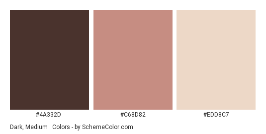 Dark, Medium & Fair Skin Types - Color scheme palette thumbnail - #4A332D #C68D82 #EDD8C7