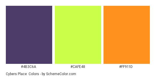 Cybers Place - Color scheme palette thumbnail - #4B3C6A #CAFE48 #FF911D