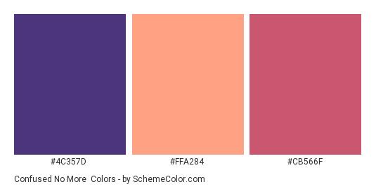 Confused No More - Color scheme palette thumbnail - #4C357D #FFA284 #CB566F