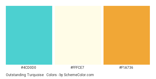 Outstanding Turquoise Orange Color Scheme Palette Thumbnail 4cd0d0 Fffce7 F1a736