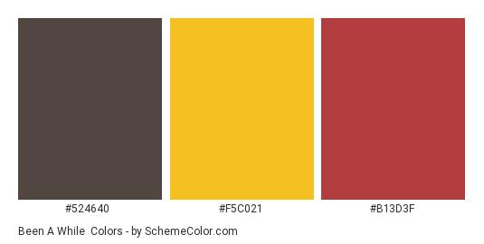 Been a While - Color scheme palette thumbnail - #524640 #f5c021 #b13d3f