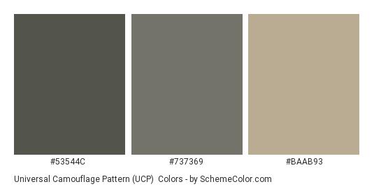 Universal Camouflage Pattern (UCP) - Color scheme palette thumbnail - #53544c #737369 #baab93