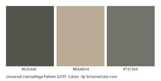 Universal Camouflage Pattern (UCP) - Color scheme palette thumbnail - #53544c #baab94 #737369