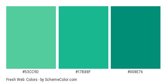 Fresh Web - Color scheme palette thumbnail - #53cc9d #17b88f #008e76