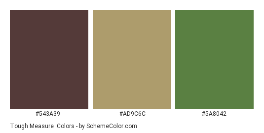 Tough Measure - Color scheme palette thumbnail - #543a39 #ad9c6c #5a8042