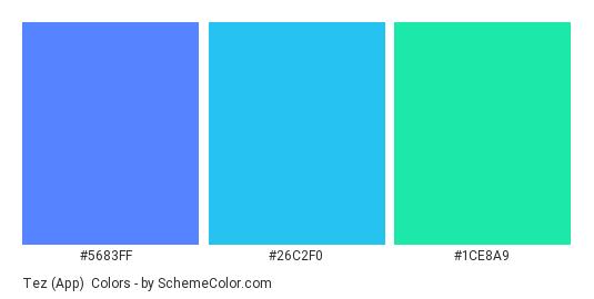 Tez (App) - Color scheme palette thumbnail - #5683ff #26c2f0 #1ce8a9
