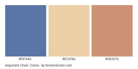 Argument Chain - Color scheme palette thumbnail - #5976A6 #ECCFA6 #cb9276