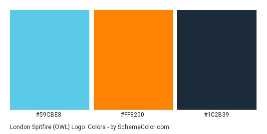 London Spitfire (OWL) Logo - Color scheme palette thumbnail - #59CBE8 #FF8200 #1C2B39