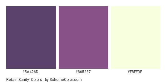 Retain Sanity - Color scheme palette thumbnail - #5A426D #865287 #F8FFDE