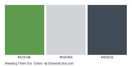 Weeding them Out - Color scheme palette thumbnail - #5C9C4B #D0D4D8 #404C55