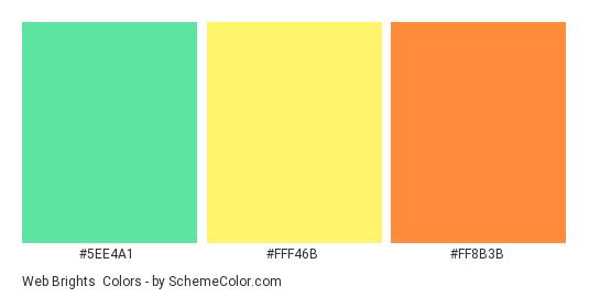 Web Brights - Color scheme palette thumbnail - #5EE4A1 #FFF46B #FF8B3B