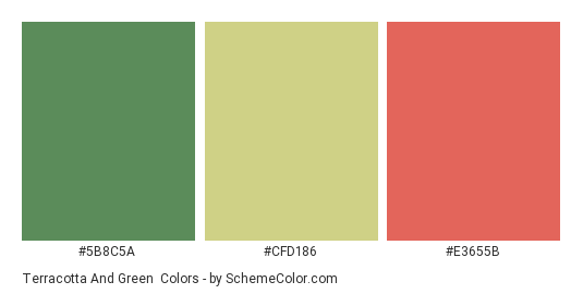 Terracotta and Green - Color scheme palette thumbnail - #5b8c5a #cfd186 #e3655b