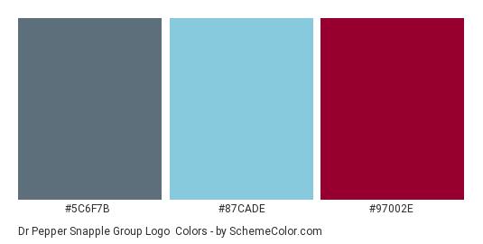 Dr Pepper Snapple Group Logo - Color scheme palette thumbnail - #5c6f7b #87cade #97002e