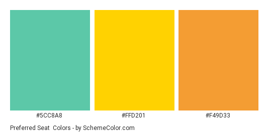Preferred Seat - Color scheme palette thumbnail - #5cc8a8 #ffd201 #f49d33