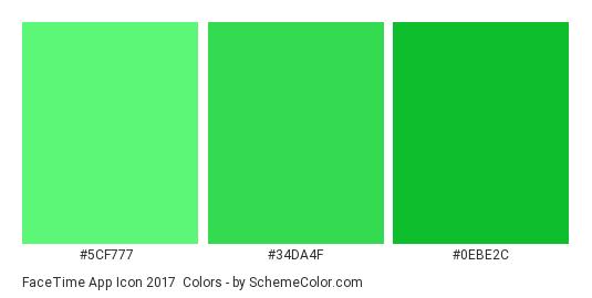 FaceTime App Icon 2017 - Color scheme palette thumbnail - #5cf777 #34da4f #0ebe2c