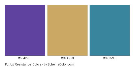 Put up Resistance - Color scheme palette thumbnail - #5f429f #c9a963 #39859e