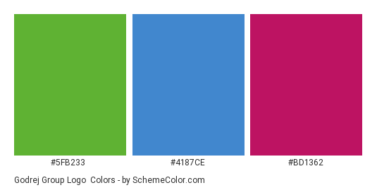 Godrej Group Logo - Color scheme palette thumbnail - #5fb233 #4187ce #bd1362