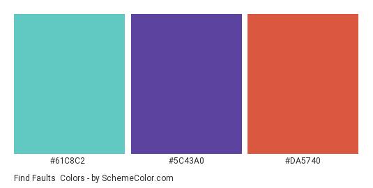 Find Faults - Color scheme palette thumbnail - #61c8c2 #5c43a0 #da5740
