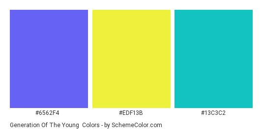 Generation of the Young - Color scheme palette thumbnail - #6562f4 #edf13b #13c3c2