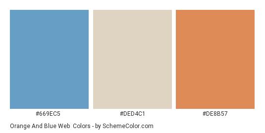 Orange and Blue Web - Color scheme palette thumbnail - #669ec5 #ded4c1 #de8b57