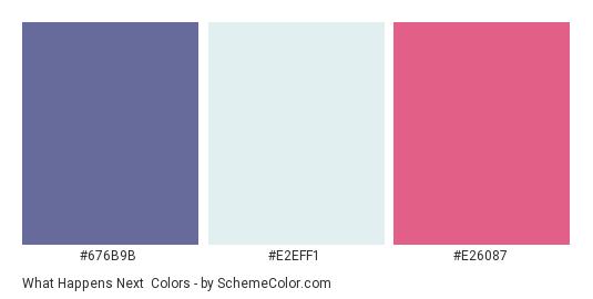 What Happens Next - Color scheme palette thumbnail - #676B9B #E2EFF1 #E26087