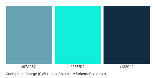 Guangzhou Charge (OWL) Logo - Color scheme palette thumbnail - #67A2B2 #0FEFD9 #122C42