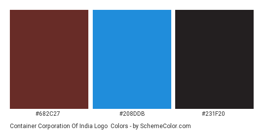 Container Corporation of India Logo - Color scheme palette thumbnail - #682c27 #208ddb #231f20