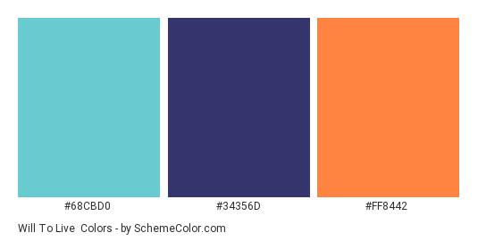 Will to Live - Color scheme palette thumbnail - #68CBD0 #34356D #FF8442