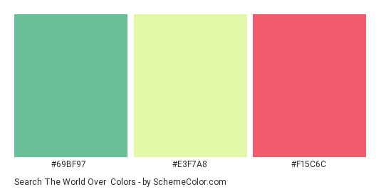 Search The World Over - Color scheme palette thumbnail - #69bf97 #e3f7a8 #f15c6c