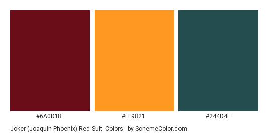 Joker (Joaquin Phoenix) Red Suit - Color scheme palette thumbnail - #6A0D18 #FF9821 #244D4F