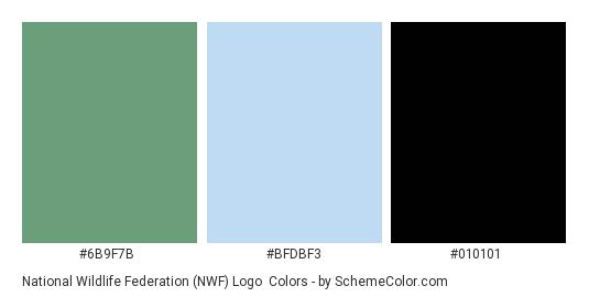 National Wildlife Federation (NWF) Logo - Color scheme palette thumbnail - #6B9F7B #BFDBF3 #010101