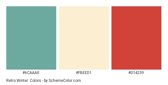 Retro Winter - Color scheme palette thumbnail - #6CAAA0 #FBEED1 #D14239