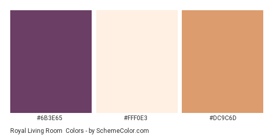Royal Living Room - Color scheme palette thumbnail - #6b3e65 #fff0e3 #dc9c6d