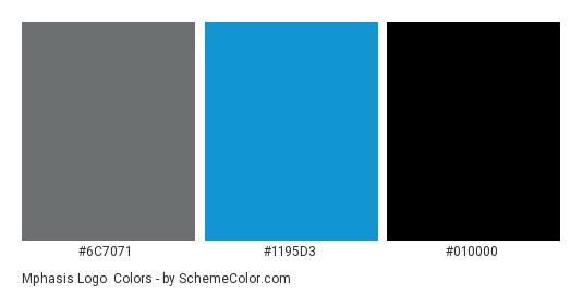Mphasis Logo - Color scheme palette thumbnail - #6c7071 #1195d3 #010000